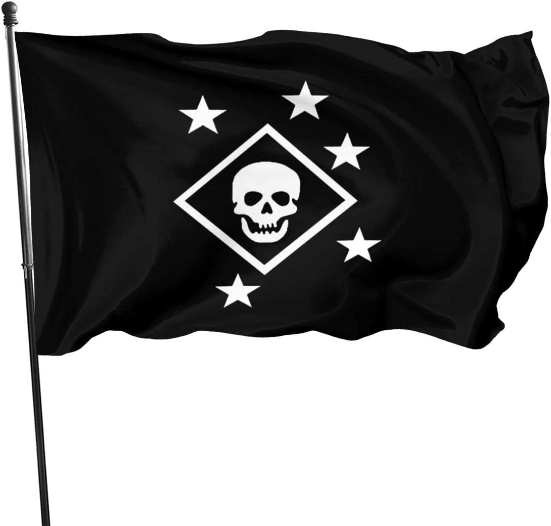 PINGqi Black and White MARSOC Ma-Rine Ra-iders Banner Breeze Flag Outdoor Flags Home Flag Garden Flag 3' X 5' Ft