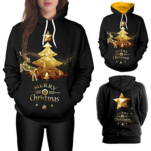 Clearance Sale! Wobuoke Women Men Unisex Couples 3D Christmas Elk Kangaroo Pockets Antler Print Hoodies Blouse Tops Shirt