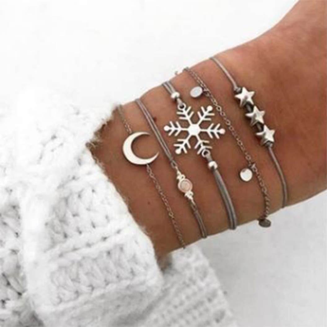 Initial Expandable Bangle Bracelet, Five-piece Suit Anklet Love Freedom Power Stackable Cuff Bracelet Set Bangle Women