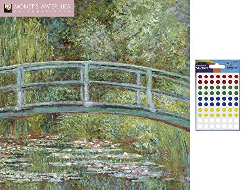 (iPosters Bundle - 2 Items - Monet's Waterlilies 2019 Wall Calendar - Closed Size : 30 x 30 cm (12 x 12 inches) a Sheet 70 Multi Colour Self Adhesive Dot Stickers)