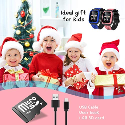 Kids Smart Watch Boys SOS Calling Timer Video Selfie Camera Smartwatch Toddler Touch Screen Games Alarm Music 1GB SD Card Calendar Calculator Analog Digital Clock Voice Recorder for 3-12 Children
