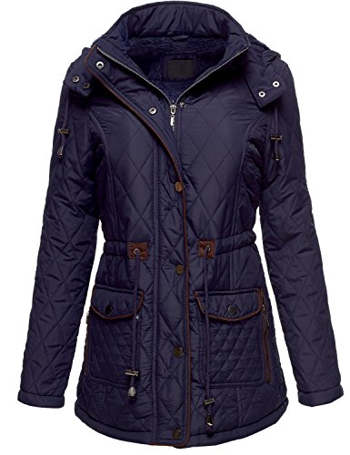 Winter Slim Fit Quilted Fur Lined Hoodie Padding Jackets 081-Navy Small