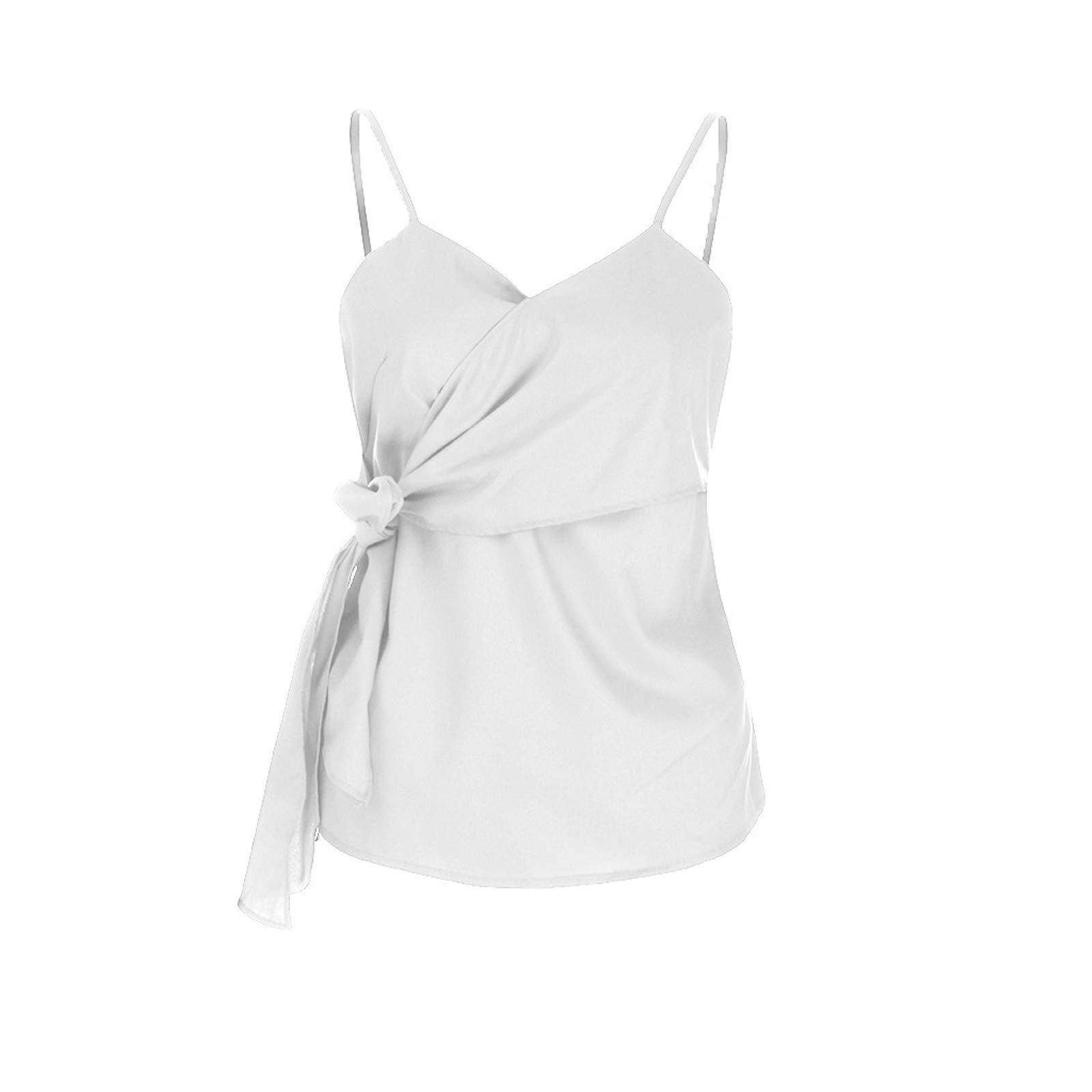 BAOHOKE Summer Fashion Casual Sleeveless Crop Solid Bandage Tops,Vest Sling,t Shirt Tops Blouse v Neck (White,S)