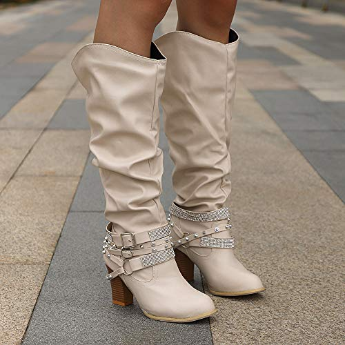 Casual Shoes Martin Boots Platform Sunday77 Women Round Toe Solid Adults Flock Knee Winter Buckle nbsp;1 Ladies Heel Boots High Comfort for High Beige ZqaZTrAw