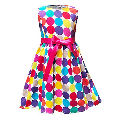 Abalaco Girls 100% Cotton colorful Polka Summer Sleeveless Sundress Tutu Dress 2-8T (7-8 Years)