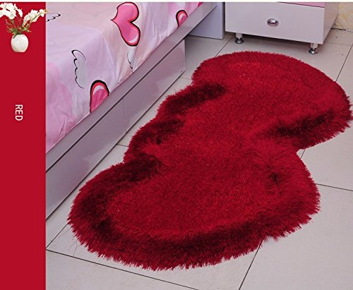 WYMBS Continental children's room carpet floor mat bedroom elastic thread lovely heart-shaped bed bed mattress pads in the forefoot love their heart-shaped carpet - Multi-color Optional 80160cm by BXM*Gift (Image #2)