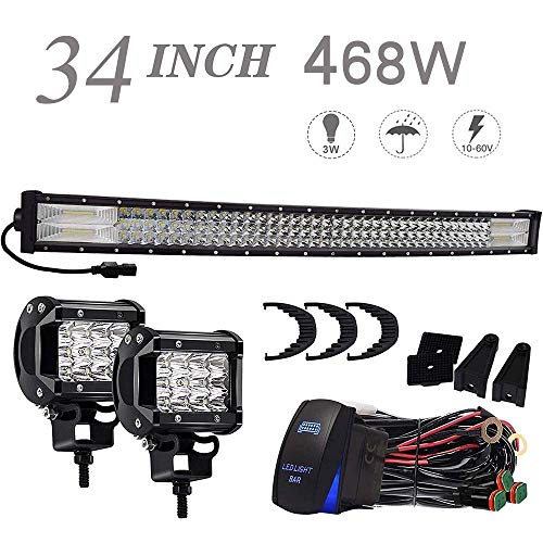 (KEENAXIS DOT 34 Inch 468W Trip-Row LED Light Bar Offroad + 2PCS 4In 36W Cube Pods LED Driving Lights W/Rocker Switch Wiring Harness For ATV Polaris RZR Golf Cart Jeep Toyota Tacoma F150 Chevy Dodge)