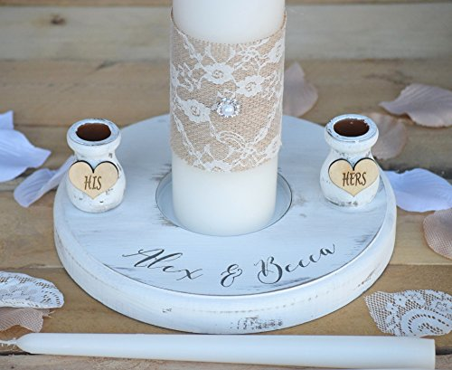 Charm Wedding Unity Candle - Rustic Wedding Candles - Rustic Unity Candle Set - Wedding Unity Candle - Wedding Unity ideas - Wedding Candles with Burlap and Lace