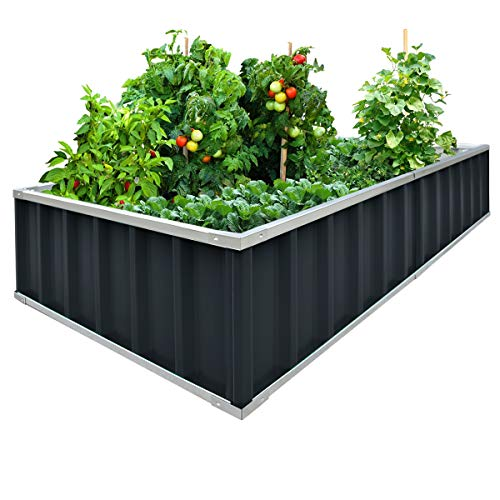 "Extra-thick 2-Ply Reinforced Card Frame Elevated Raised Garden Bed Kingbird Galvanized Steel Planter Kit Box Grey 67.2""x 67.2""x 11.8"" +8pcs T-types Tag & 1 Gloves"