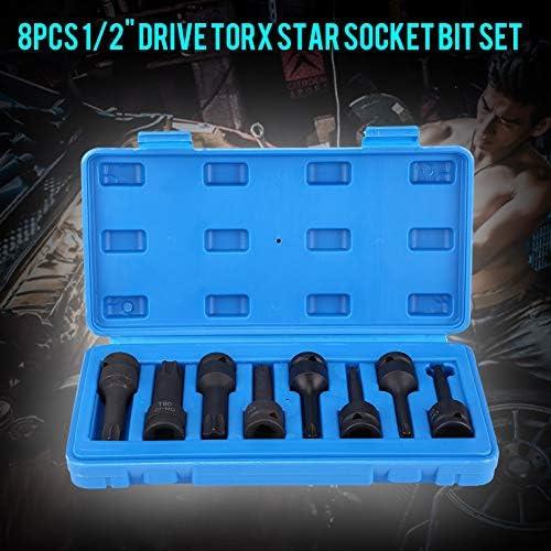 BigBig Style 8Pcs 1/2 Inch T30-T80 Universal Drive Torx Star Socket Bit Accessories Set