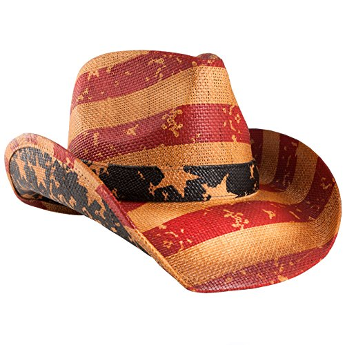 grinderPUNCH Classic American Flag Cowboy Hat Antique Stone -