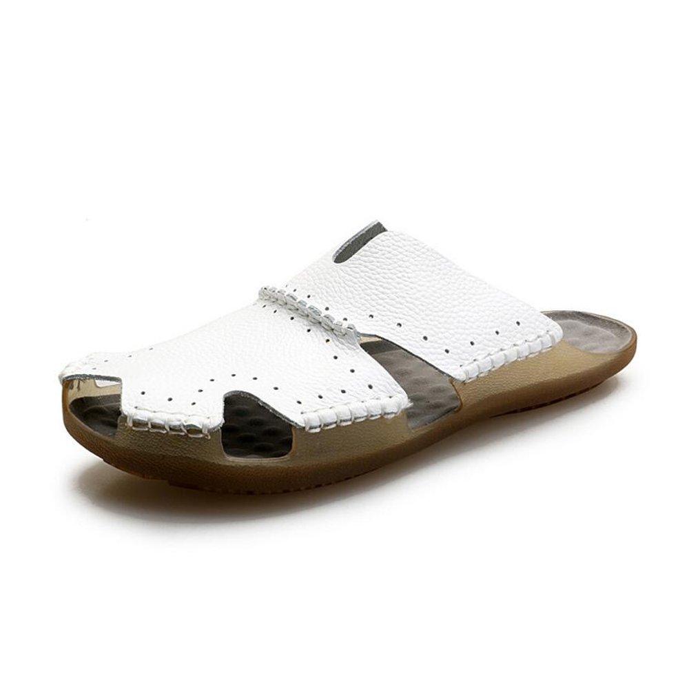Verano nuevos zapatos de playa para hombres al aire libre Zapatos casuales de cuero Coreano transpirable sandalias de cuero con punta abierta Baotou antideslizante GAOLIXIA ( Color : Blanco , tamaño : 42 ) 42|Blanco