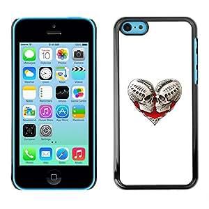 Be Good Phone Accessory // Dura Cáscara cubierta Protectora Caso Carcasa Funda de Protección para Apple Iphone 5C // Skull Death Heart White Biker Love