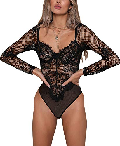 Lace Underwire Corset - Women Lace Lingeries Long Sleeve Underwire Bodysuits Teddy Rompers Nightwear Black M