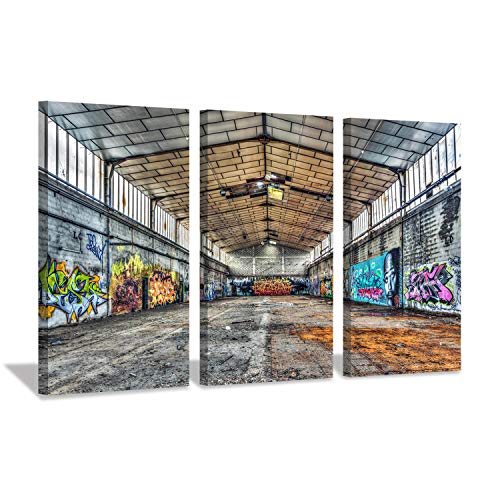 (Hardy Gallery Urban Graffiti Picture Cityscape Arts: Rustic Comic Architecture Lines Graphic Art on Wrapped Canvas Set for Wall Decor)