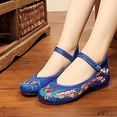 KAFEI Frauen bestickte Schuhe Tanz tuch Frühjahr und Herbst Flachbild atmungsaktiv Freizeitaktivitäten runden flachen Mund täglich, 35, R