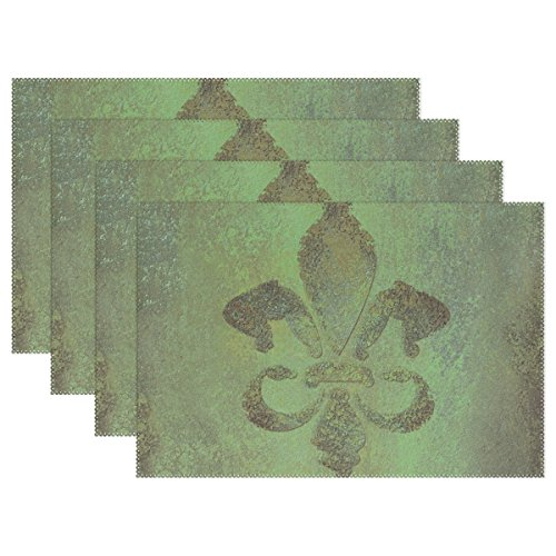 WellLee Vintage Brown and Green Fleur De Lis Placemat Set of 4 Polyester Plate Holder Table Mats for Kitchen Dining Room,12x18 Inch