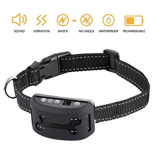 Bark Collar for Dogs with Beep,Vibration and Harmless Shock,7 Adjustable Sensitivity & Intensity Levels,Humane Rechargeable Anti Bark Collar For Small Medium Large Dogs