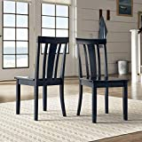 Cheap Inspire Q Wilmington II Slat Back Wood Dining Side Chairs by Classic (Set of 2) Black Antique