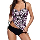 WUAI Swimsuits for Women, Sexy Leopard Printed Racerback Tankini Set with Boyshort Two Piece Swimwear Tummy Control(Hot Red,Small)