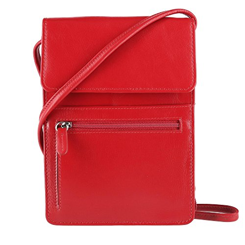 with Women's Front Crossbody Pocket Basic Leather ILI Red Bag gfxqRawqH