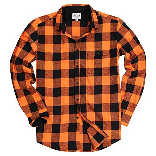 Urban Boundaries Men's Long Sleeve Flannel Shirt w/Point Collar (Orange/Black, Medium)