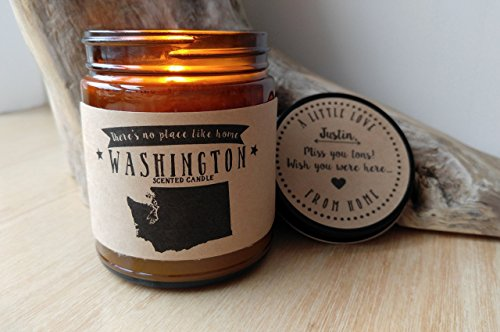 Washington Scented Candle Missing Home Homesick Gift Moving Gift New Home Gift No Place Like Home State Candles Soy Candle Valentines Day Gift