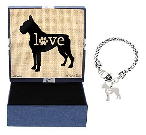 Rescue Boxers - Mother's Day Gifts Boxer Bracelet Gift Love Dog Breed Silhouette Charm Bracelet Silver-Tone Bracelet Gift for Boxer Owner Jewelry Box Mothers Day Gift Idea For A Rescue Dog Mom