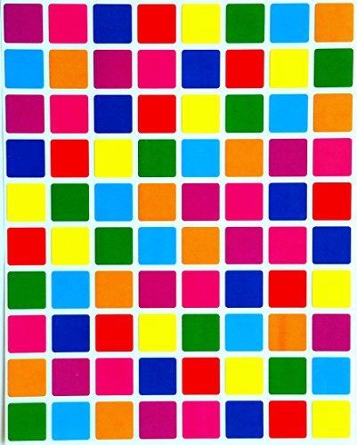 Square Color Coding Labels 1/2 inch by 1/2 inch--Assorted colors Stickers 8 Colors-- Blue, Dark Blue, Red, Purple, Green, Orange, Pink and Yellow-- Multi Pack--Classic colors semi gloss 1200 pack