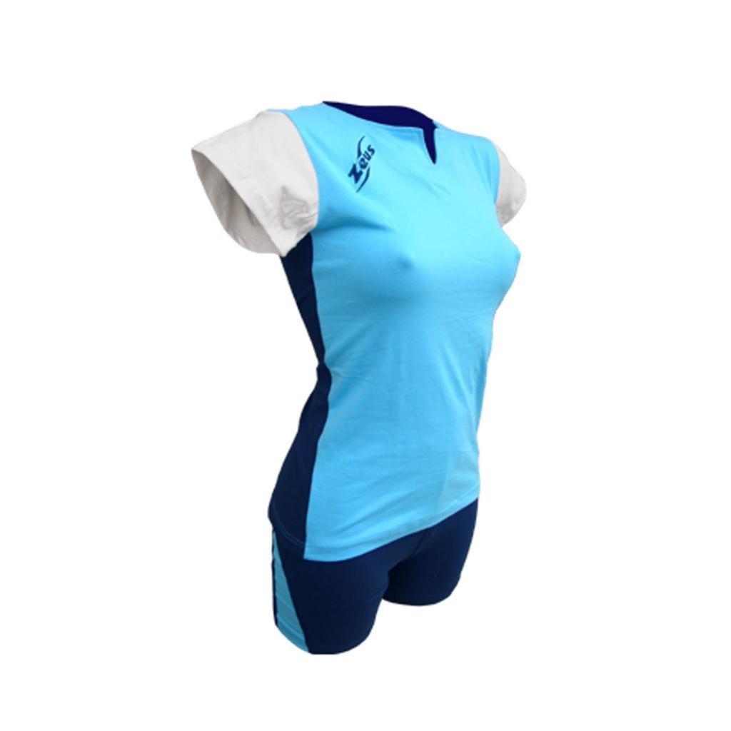 ZEUS KIT TERRY SET VOLLEYBALL WOMEN TOP SHORTS SKY-WHITE-BLUE, L
