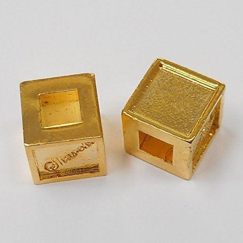 SHAREKI 樹脂粘土 クレイデコ 四角形 スクエア チャーム芯 キューブ ロンデル 2個入り ゴールド(10mmx10mmx10mm) b-9