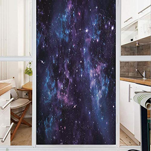 Decorative Window Film,No Glue Frosted Privacy Film,Stained Glass Door Film,Mystical Sky with Star Clusters Cosmos Nebula Celestial Scenery Artwork,for Home & Office,23.6In. by 47.2In Dark Purple Blue