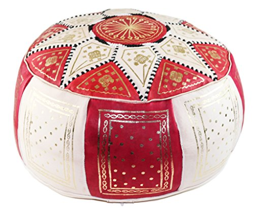 GRAN Stuffed Handmade Leather Moroccan Pouf Footstool Ottoman | Red and Beige Genuine Leather with Hand Embroidered Stitching