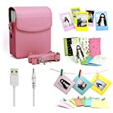 Fujifilm Instax Share Smartphone Printer Sp-1 Accessory Bundles Set(Included: Pink PU Leather Case Bag With Shoulder Strap/ Power Cable For Printer SP-1/ Colorful Decor Sticker Borders/ 3 inch Photo Frames/ Wall Decor Hanging Frames/)