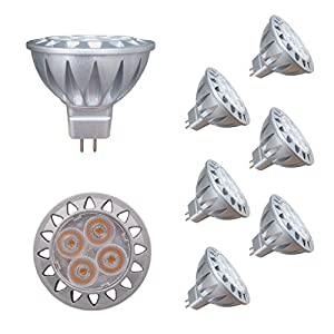 ALIDE MR16 GU5.3 Led Bulbs 5W,20W 35W Halogen Replacement Equivalent,2700K Soft Warm White,12V Low Voltage Bulb Spotlights for Outdoor Landscape Flood Track Lighting,Not Dimmable,50mm,400lm,38°,6pcs