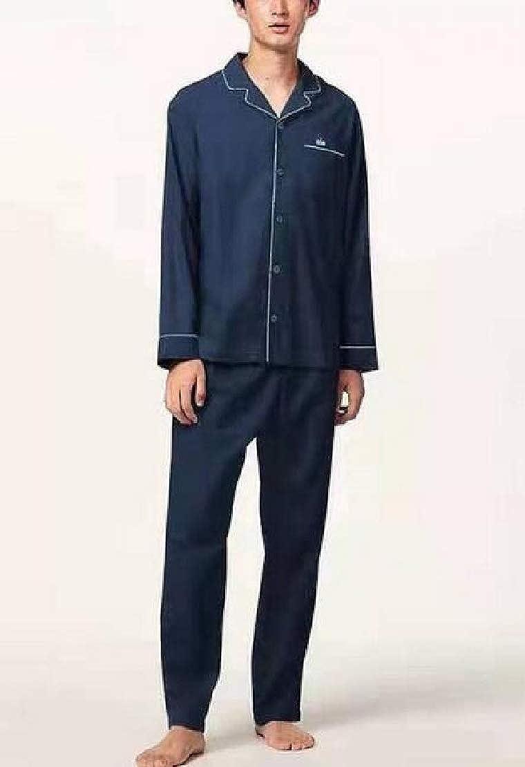 GRMO Men Flannel Sleepwear Nightwear Buttons Long Sleeve Pajama Sets