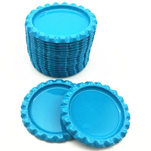 IGOGO 100 PCS Bottle Caps for Hair Bows,DIY Pendants or Craft Scrapbooks Light Blue
