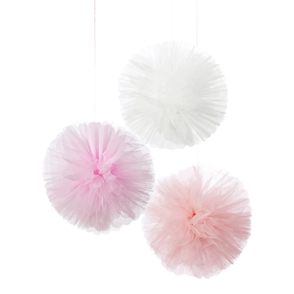 Talking Tables We Heart Pink Hanging Pom Pom Décor for General party decoration or a birthday party, Pink & White (3 Pack)