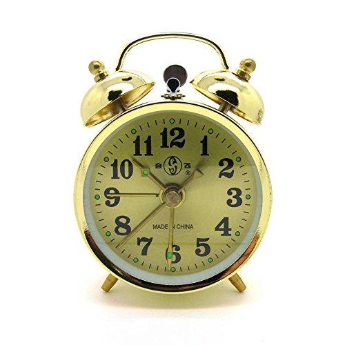10cm Wind Up Alarm Clock Bell Alarm Clock Retro Nostalgia Retro Twin Bell Alarm Clock goldfarben (#867) Starlet24