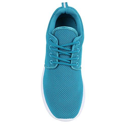 Damen Sportschuhe Blumen Neon Stoff Glitzer Metallic Laufschuhe Lack Animal Print Schuhe Sneaker Runners Trainers Profilsohle Flandell Türkis