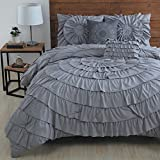 Comforter Sets Premium Queen Size Set in 5 Piece Adult Luxury Elegant Design (Gray)