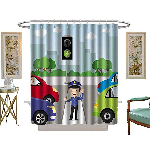 luvoluxhome Shower Curtain Collection by Traffic Policeman is Making a Stop Gesture Signal to Control Traffic W72 x L84 Custom Made Shower Curtain