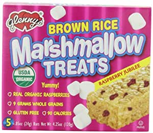 Glenny's Brown Rice Marshmallow Treats, Raspberry Jubilee, 5-Count Boxes (Pack of 12)