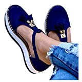 Cenglings Platform Loafers,Women's Tassel Round Toe Hollow Out T-Strap Wedge Sandals Buckle Ankle Strap Casual Beach