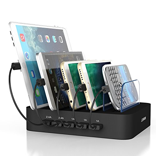 JZBRAIN 5 Port USB Charging Station for Multiple Devices Iphone Ipad Samsung HTC etc Cellphone and Tablets (Black)