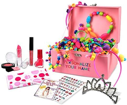PlaySavvy Pop Beads DIY Jewelry Making Arts and Crafts Kit - Princess Dress Up Set for Girls Ages 3 4 5 6 7 8-600 Pcs Snap BeadsJewelry Box Lipstick Gloss Tiara Nail Polish and More
