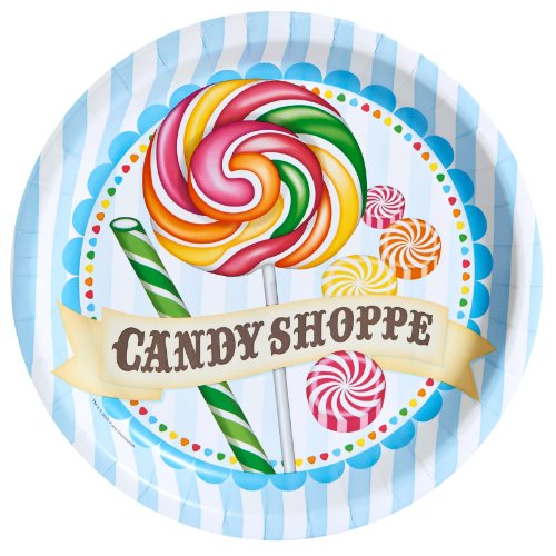 Carnival Candy Shoppe Party Supplies - Dinner Plates (Candyland Themed Costumes)