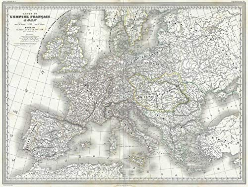 Historical 1860 Dufour Map of Europe and The French or Napoleonic Empire |18 x 24 Fine Art Print | Antique Vintage Map - Map Europe 1860