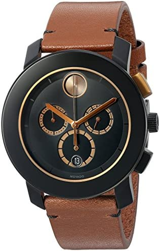 Movado Men s Swiss Quartz Stainless Steel and Leather Watch, Color Brown Model 3600348