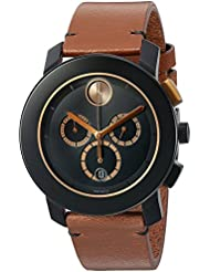 Movado Mens Swiss Quartz Stainless Steel and Leather Watch, Color: Brown (Model: 3600348)